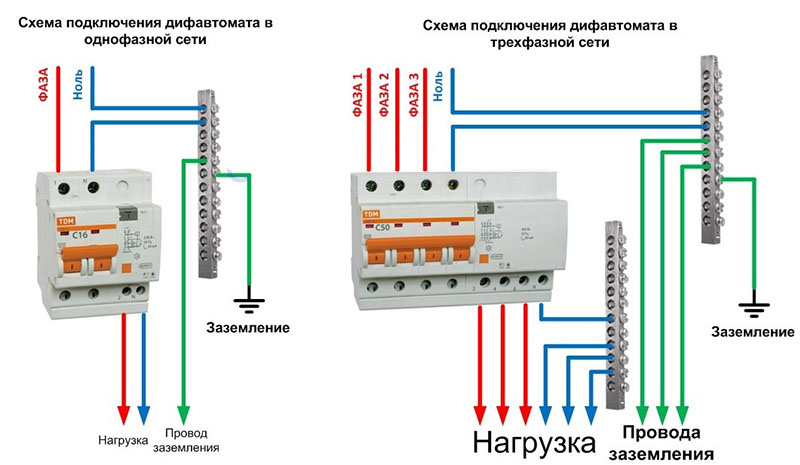 подключение дифавтомата с заземлением