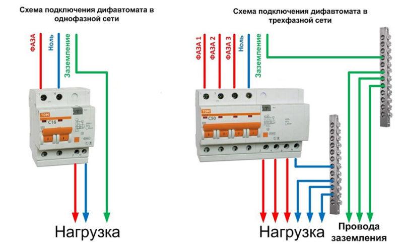 подключение дифавтомата в сети TN S